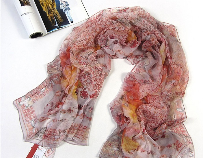 Painted silk Scarfs Wraps and shawls wholesale