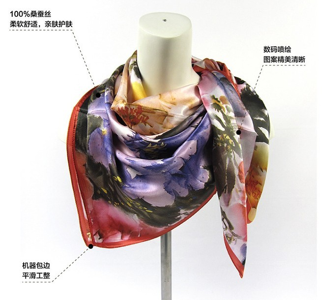 New Fashion 100% Square Silk Scarf Flower Painted Design