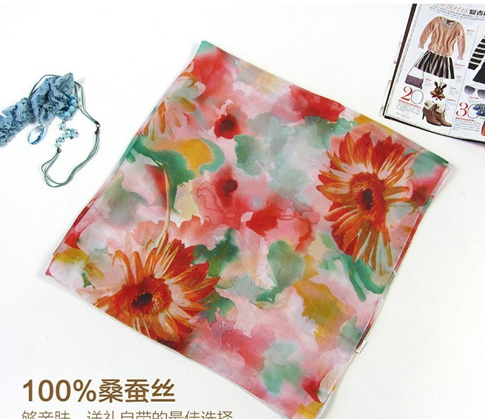 Sunflowers Patterned 100% silk Scarf wholesale