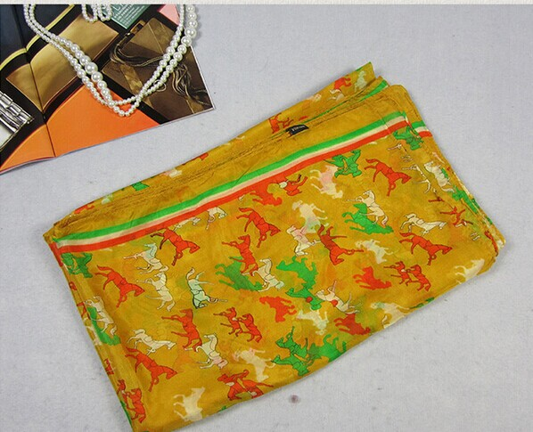 012 Silk Scarf with horses print