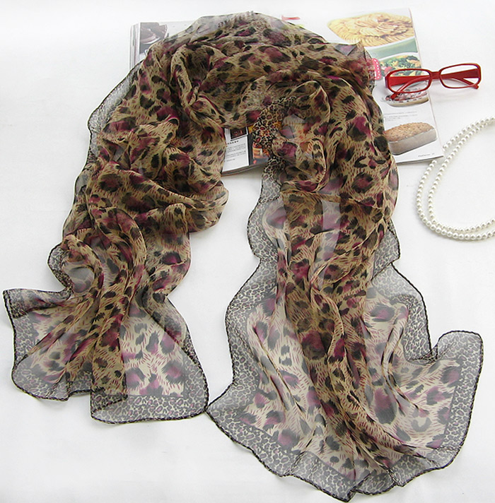 Leopard Silk chiffon scarves for women