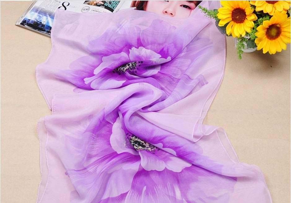 Wholesale flower designs silk scarf for ladies