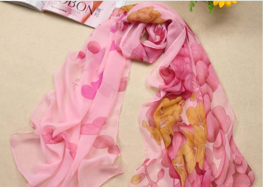 Pink silk scarf with flower print for summer