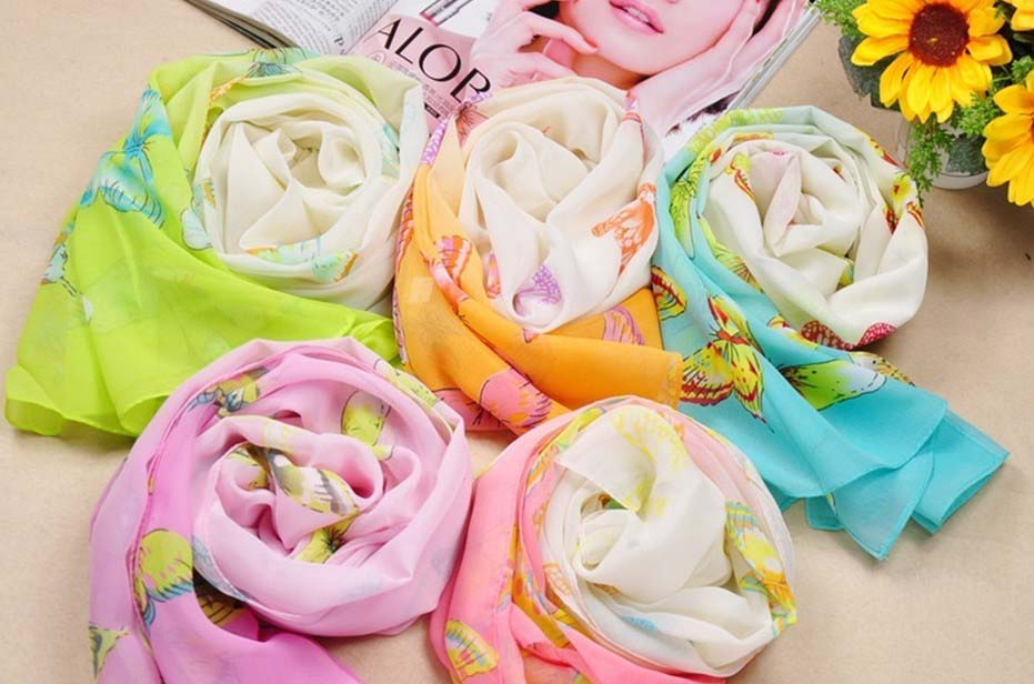 Butterfly printed silk shawls wholesale in China