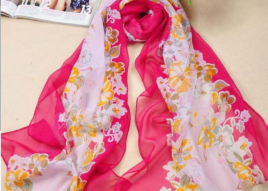 Lady's red silk scarves with floral printing usa