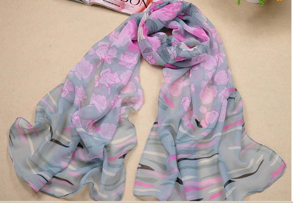 SEO_COMMON_KEYWORDS New Georgette Silk Scarf with Long Romantic Color and elegant Fl