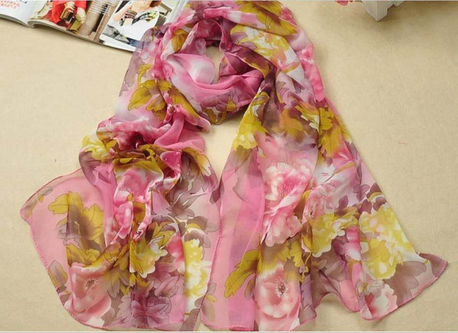 Fashion Satin oil painted Long Wrap/Shawl and Beach Silk Scarf w