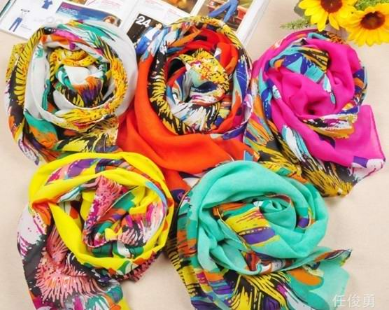 USA colorful flowers designs silk scarf wholesale