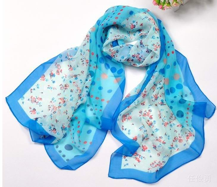 SEO_COMMON_KEYWORDS Flowers and dots silk scarf for sale USA