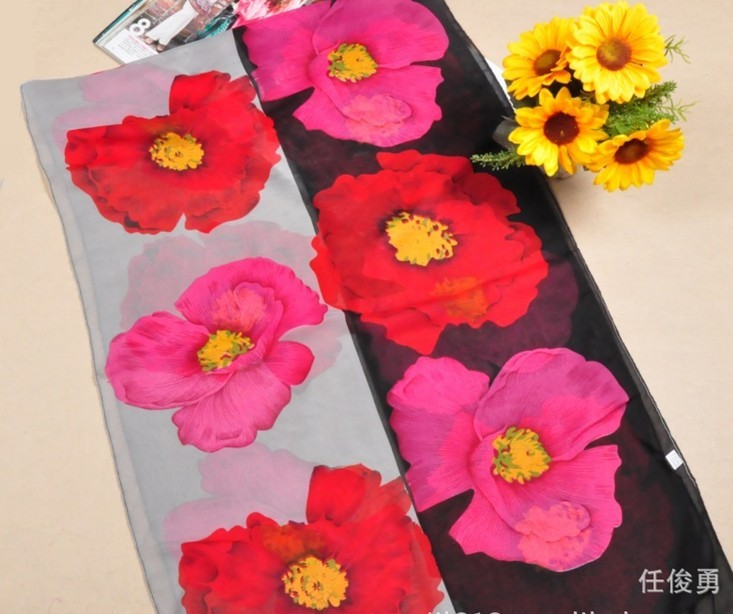 Oversized Flower style silk wraps/scarfs UK