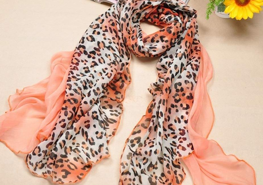 Plain Color/leopard printed silk scarves USA