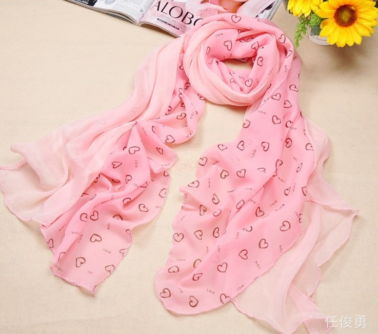 Fashion Heart style silk scarves for girls