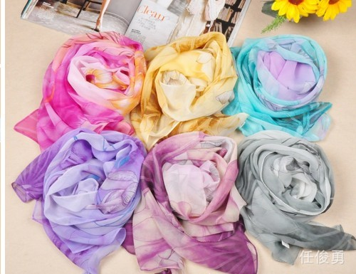 Soft Patterns silk Scarves For Sale