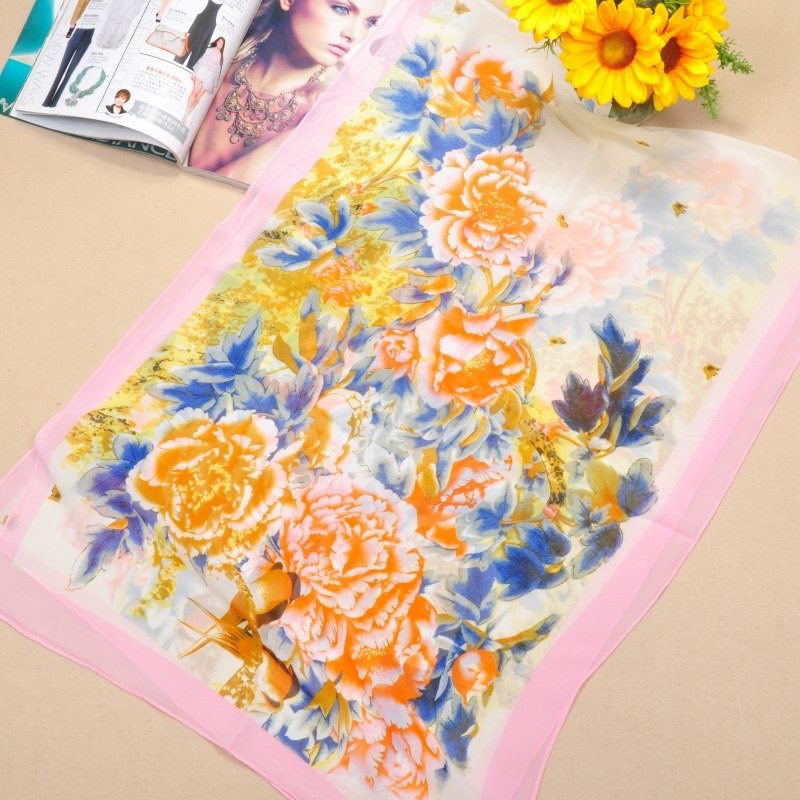 001 Magpie and peony painting design silk scarf for summer