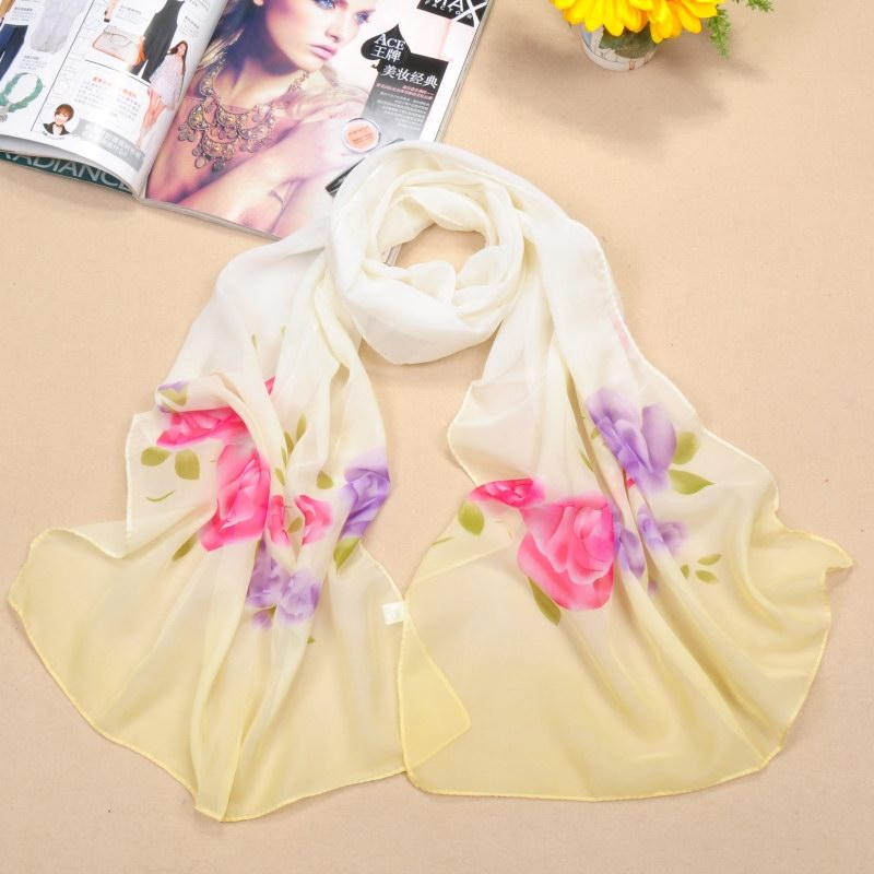 002 Big size peony flower silk scarf for summer
