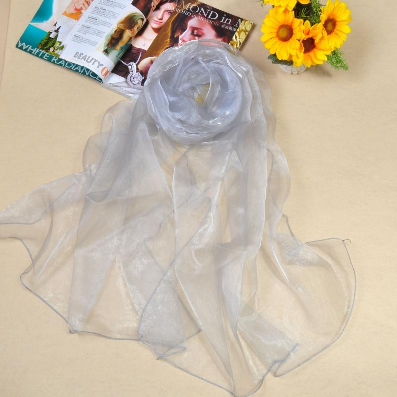 015 High quality silk like scarf with plain solid colors