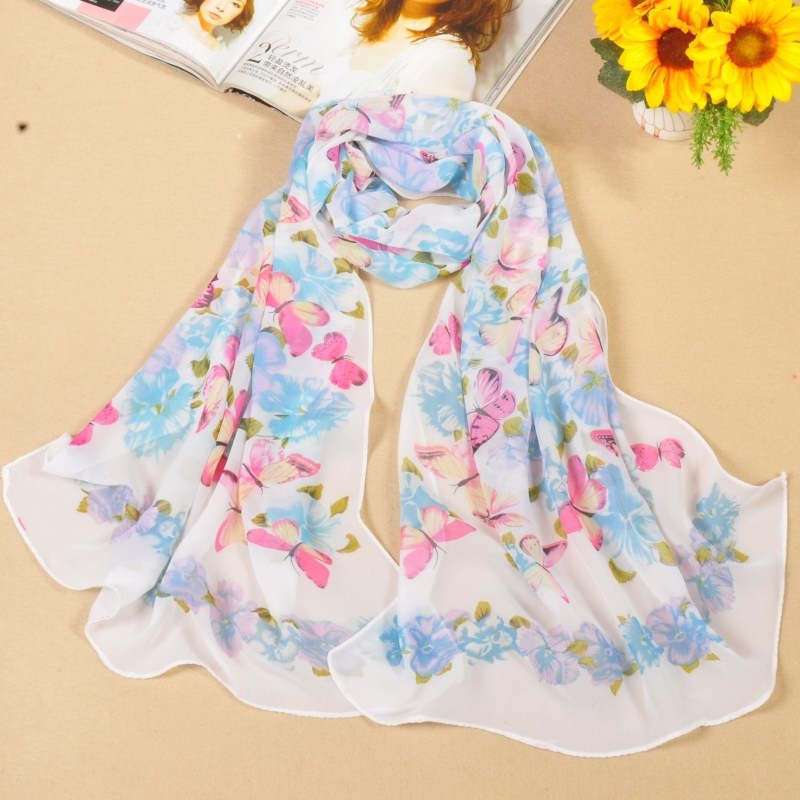 001 Butterfly Pattern Silk Like Scarf For Women