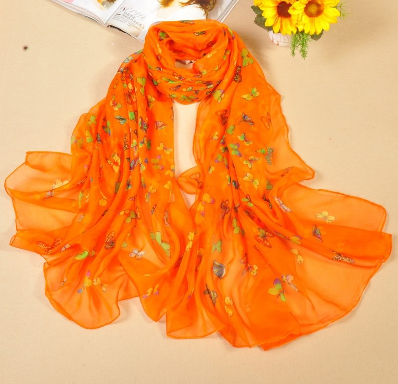 001 Plain Solid Colors Silk Scarfs With butterfly pattern