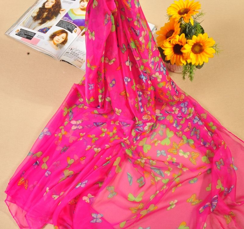 001 Plain Solid Colors Silk Scarfs With butterfly pattern - Click Image to Close