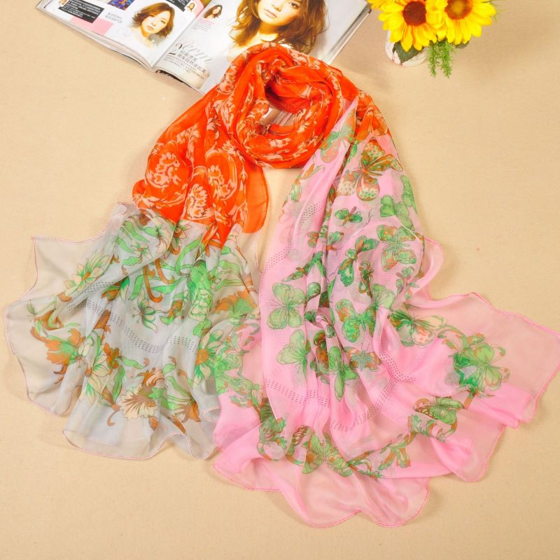 001 New arrival fashion silk like scarves with butterfly style