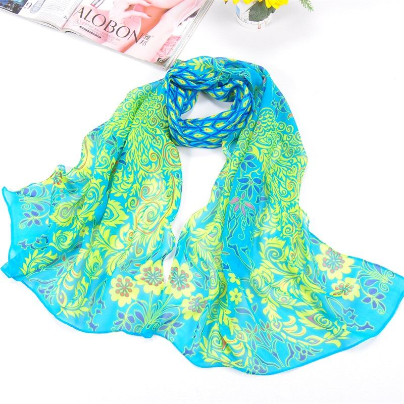 001 Cheap Silk Scarf With Peacock Print