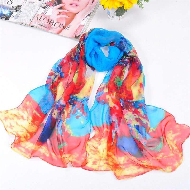SEO_COMMON_KEYWORDS 001 Women silk like scarf with painting design