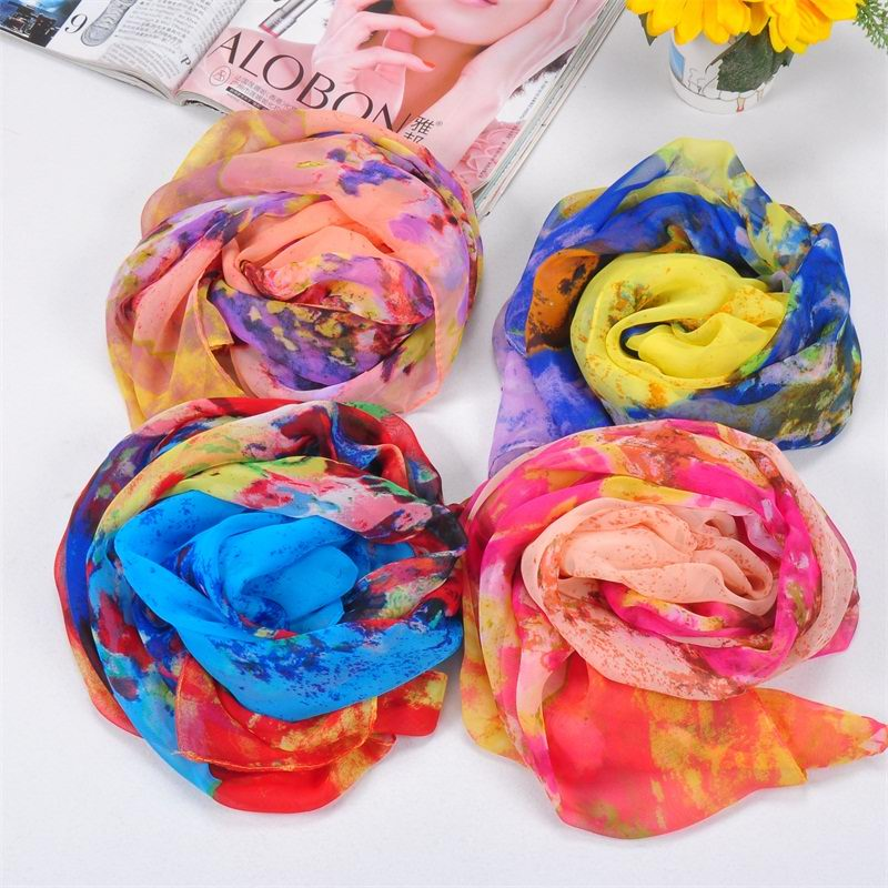 001 Women silk like scarf with painting design