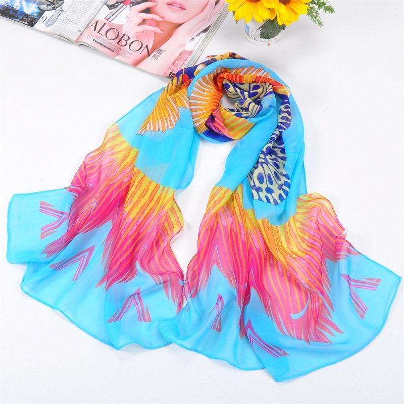 001 Oversize Butterfly Pattern Silk Scarf On sale