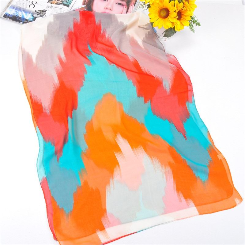 001 full colors print silk scarf