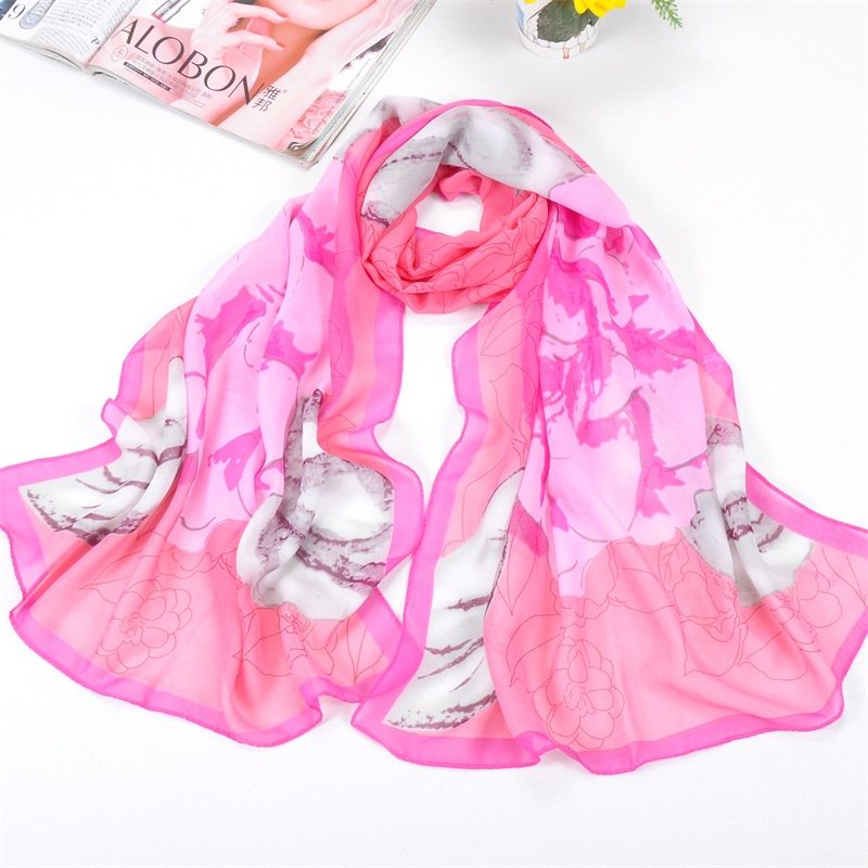 001 Big Peony Flower Print Scarf Cheap