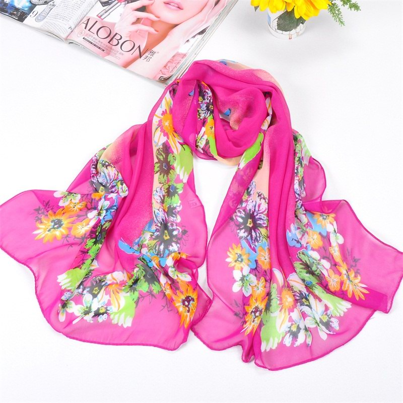001 Chrysanthemum Pattern Scarf For Women