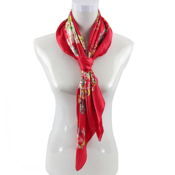 90*90CM Red Flowers Square Scarf Wholesale