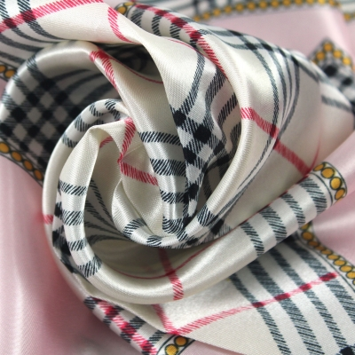 50*50CM Pink Check Square Scarf 073