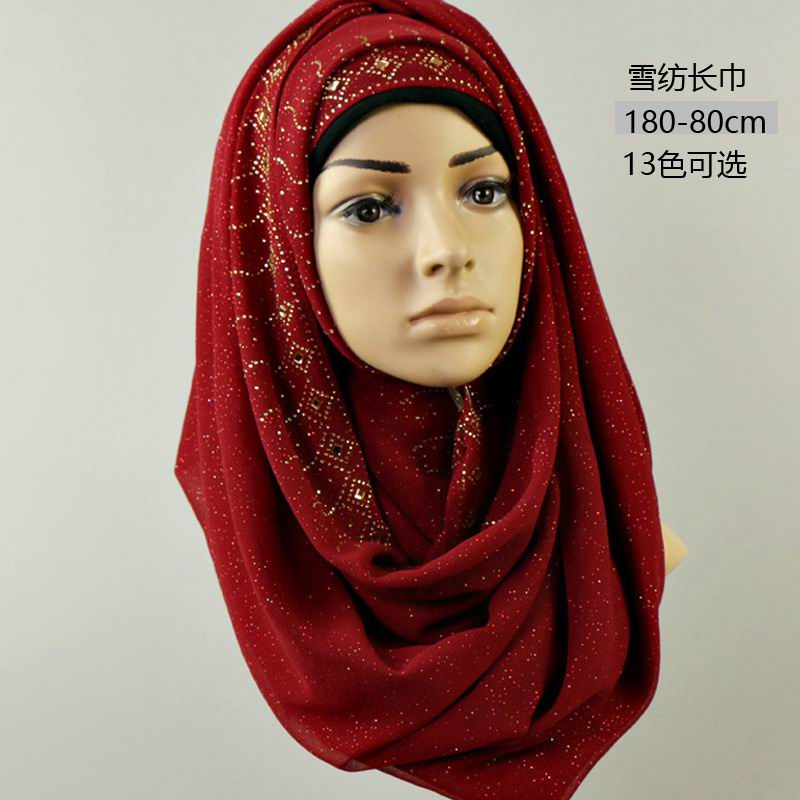 SEO_COMMON_KEYWORDS 017 Newest chiffon glitter rhinestones muslim scarf