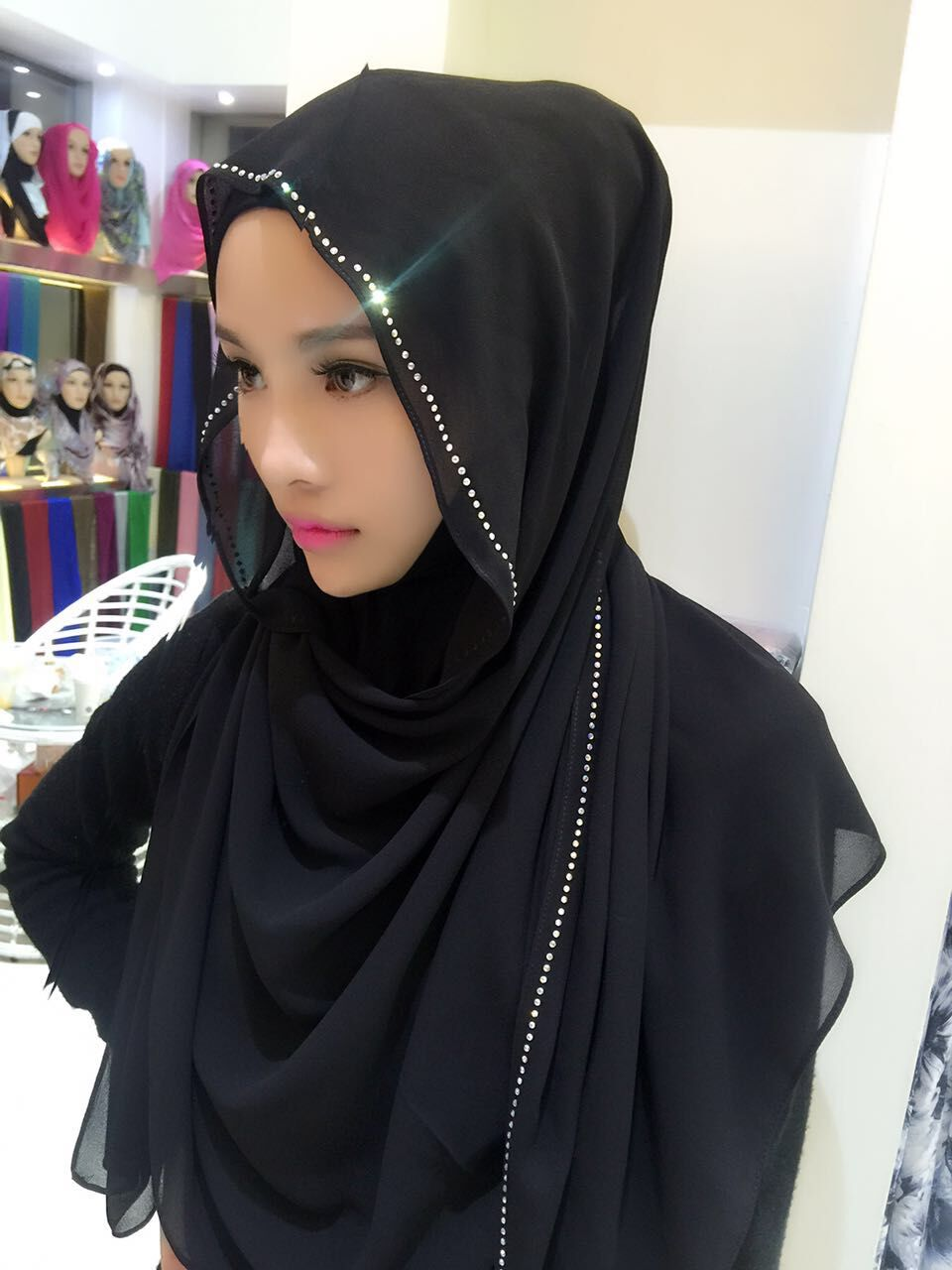 017 Chiffon muslim long scarf with rhinestones