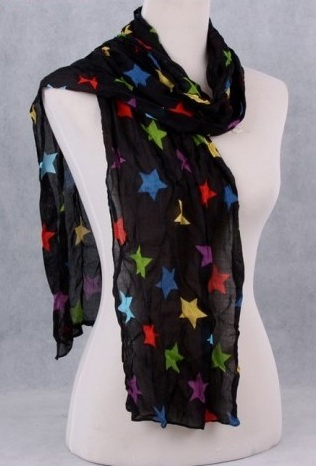 Solid colored viscose scarves with big five stars imprint