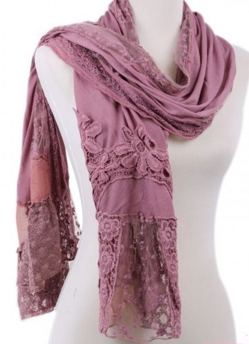 Solid color viscose scarves with imbroidery floral design
