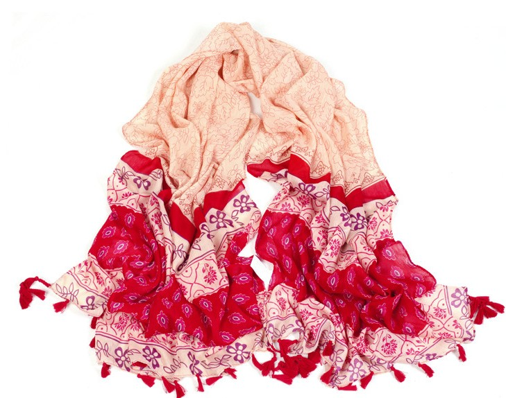 1 Flowers Designs Viscose Scarf with tassels
