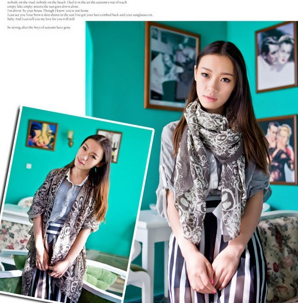 1 New fashion Skull pattern Viscose Scarf Good quality