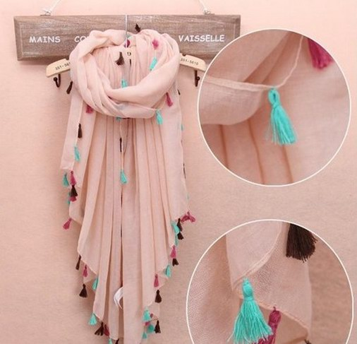 1 1 2014 Super big size viscose scarf with tassel