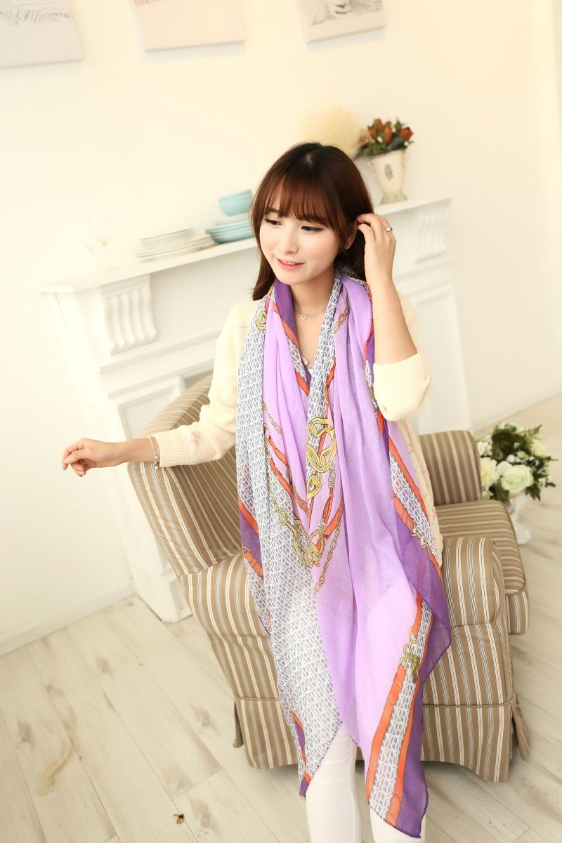 01280 New Brand Chain Design Viscose Shawls
