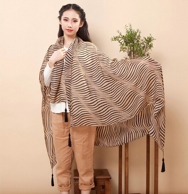 01293 Stripe Design Viscose Scarf For Winter