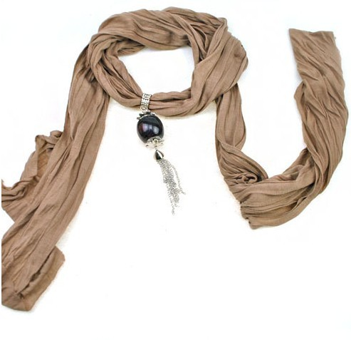 2013 New viscose Scarf with Fashion Pendant attached
