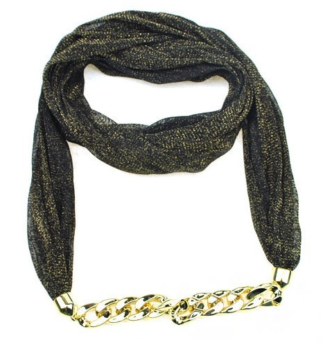 SEO_COMMON_KEYWORDS 2013 viscose Scarf Necklace with Gold Chain Wholesale