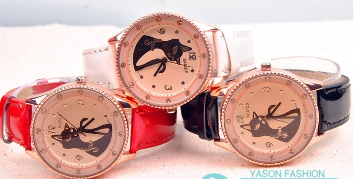 SEO_COMMON_KEYWORDS Elegant Black Cat Design Big Watch for Sale