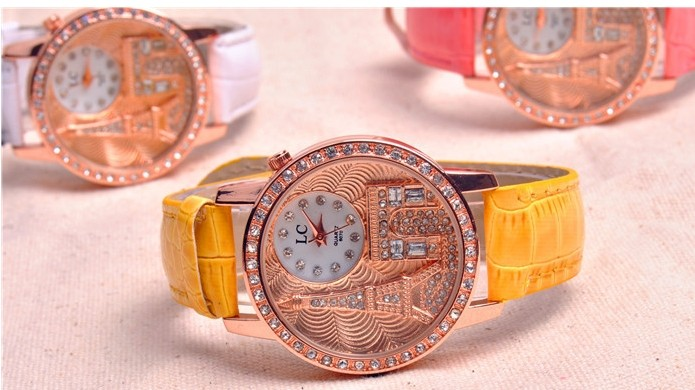 Rhinestone Tower Design with Shiny Leather Watch
