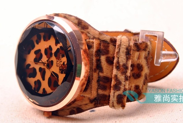 Animal Patter Imprint Artificial Leather Watch