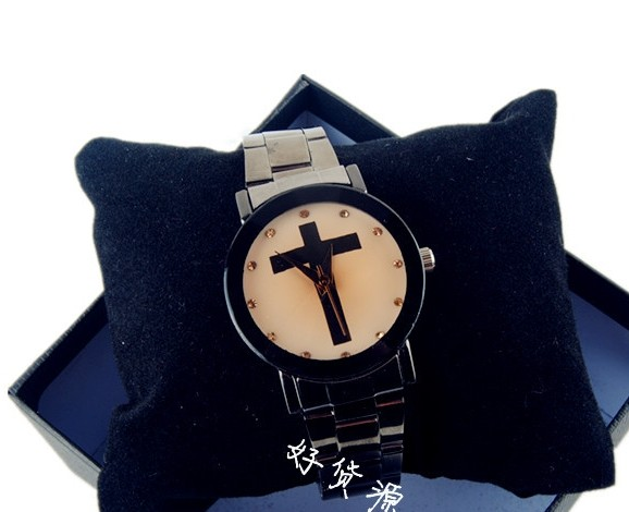 Black Cross Design Silver Band Lover Watch