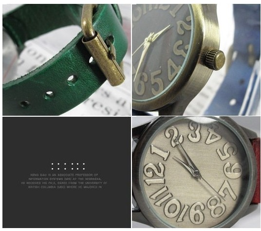 Big Number Metal Face Leather Strap Watch