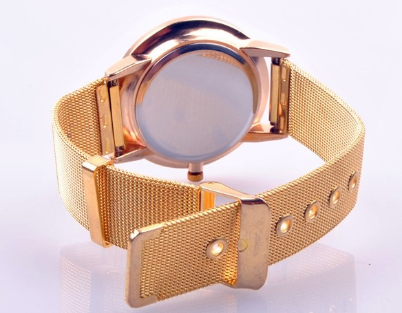 Golden Metal Band with Holes Womens Watches